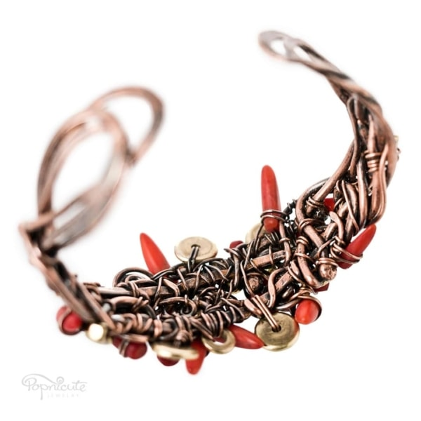 Chili Pepper Copper Cuff Wire Wrapped Coral Bracelet in Copper by Popnicute Jewelry. 6.5 inches. Back view.