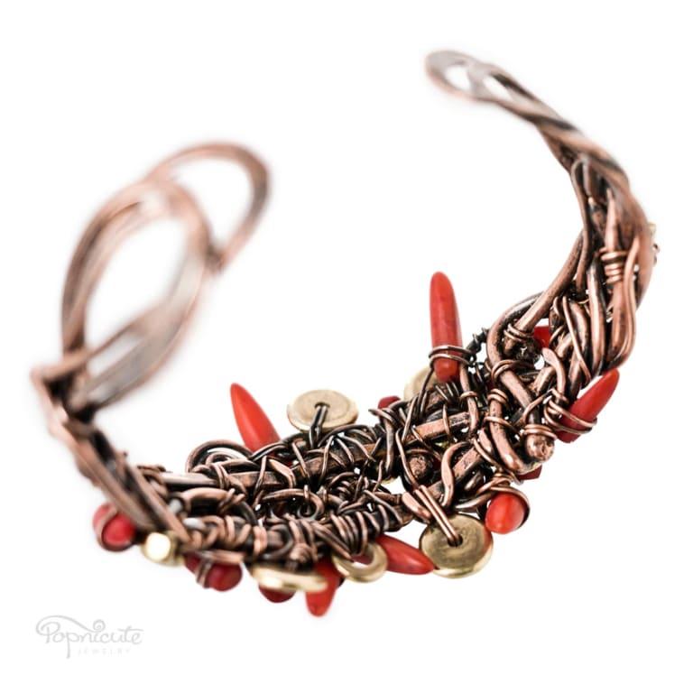 Chili Pepper Copper Cuff Wire Wrapped Coral Bracelet in Copper by Popnicute Jewelry. 6.5 inches. Back view.