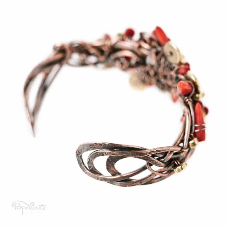 Chili Pepper Copper Cuff Wire Wrapped Coral Bracelet in Copper by Popnicute Jewelry. 6.5 inches. Detail shot