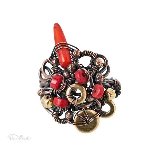 Chili Pepper Wire Wrapped Coral Ring in Copper by Popnicute Jewelry size US 8. Front view.