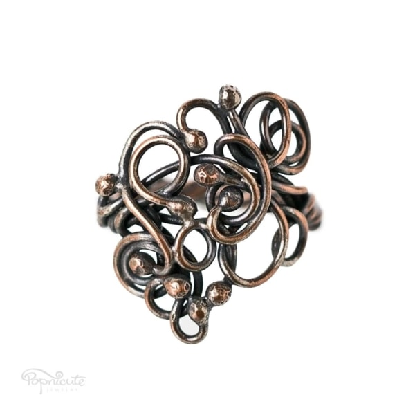 Copper Scroll Ring – 8.5