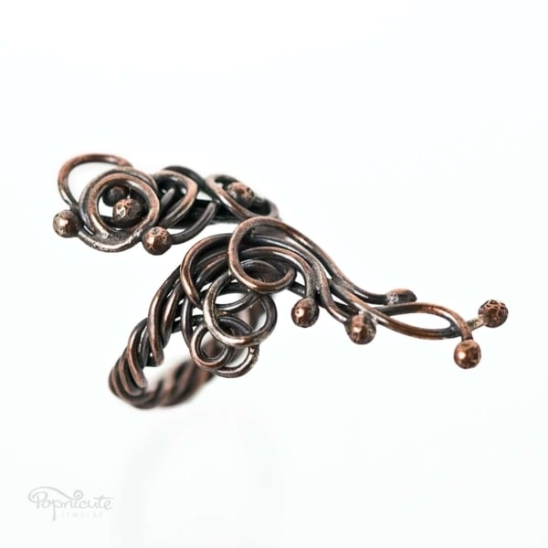 Adjustable scroll ring. Tree of Life Wire Wrapped Thumb Ring in Copper and Brass by Popnicute Jewelry size 5 - 7.5.