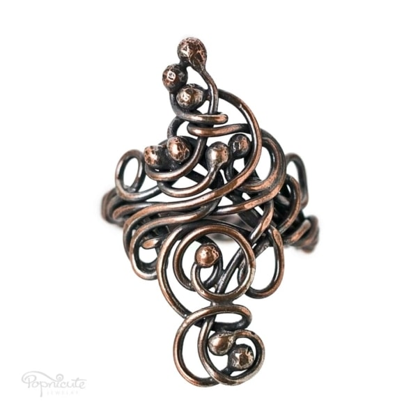 Wire Wrapped saddle scroll ring. Tree of Life Wire Wrapped Ring in Copper and Brass by Popnicute Jewelry size 7.5.