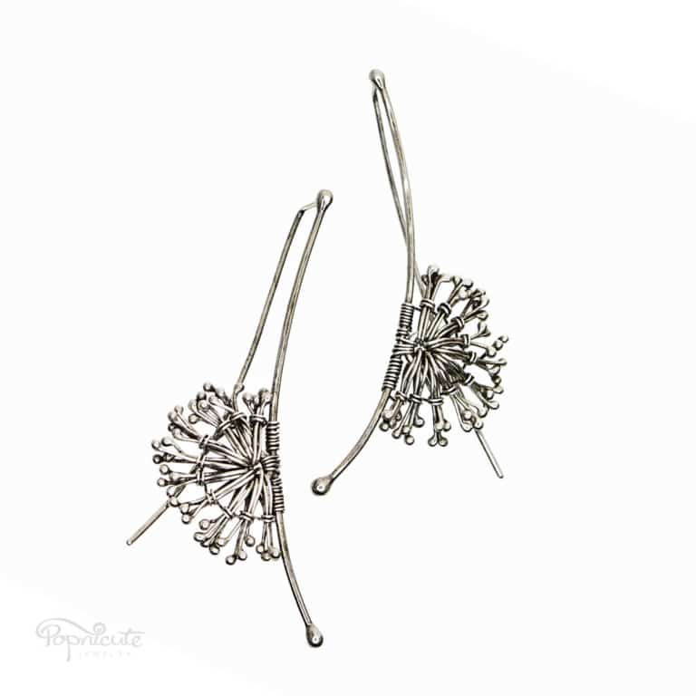 A close resemblance of the white puff dandelion flowers, these argentium sterling silver dandelion earrings surely will turn heads. They move with you.
