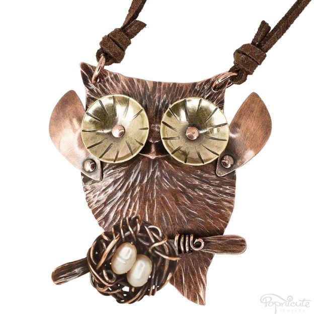 Mama owl nest necklace in copper and brass. Wearable sculpture for your neck by Popnicute Jewelry.