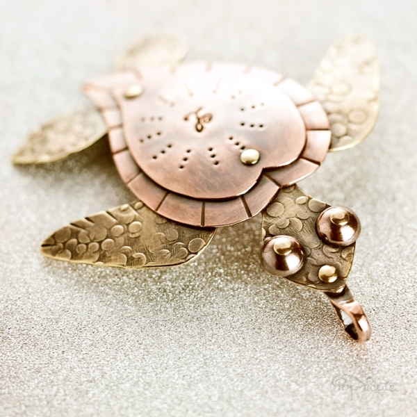 Myrtle Sea Turtle copper brass artisan necklace by Popnicute Jewelry. Handmade to order.