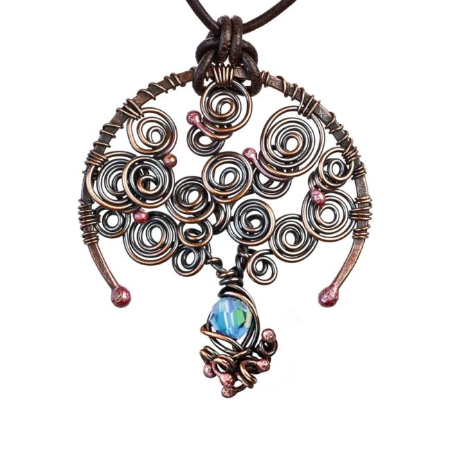 Tree of Life Aquamarine March Birthstone Copper Pendant with A Leather Necklace by Popnicute Jewelry.