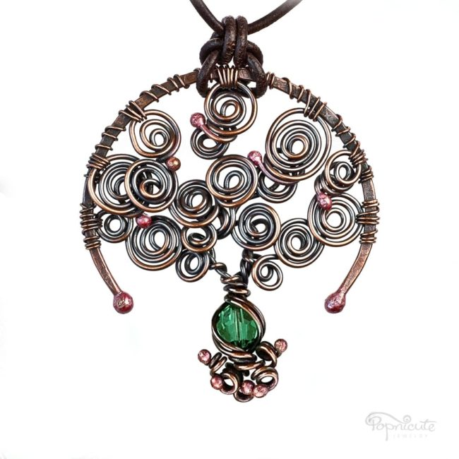 Tree of Life Emerald May Birthstone Copper Pendant with A Leather Necklace by Popnicute Jewelry.