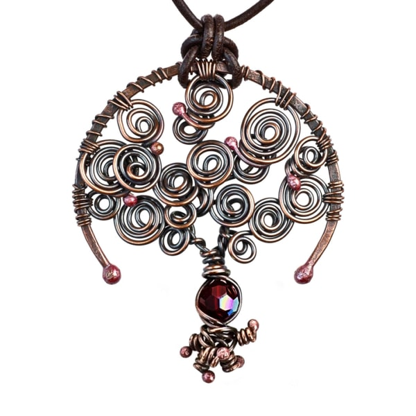 Tree of Life Garnet January Birthstone Copper Pendant with A Leather Necklace by Popnicute Jewelry.