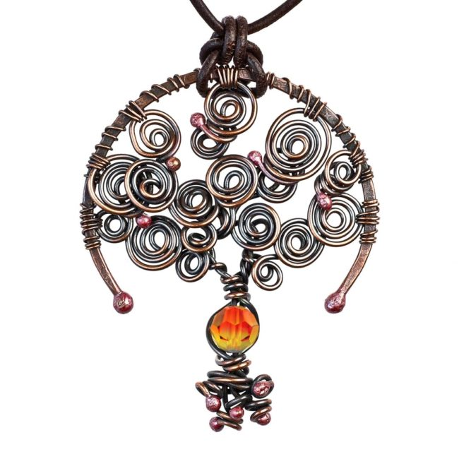 Tree of Life Fire Opal October Birthstone Copper Pendant with A Leather Necklace by Popnicute Jewelry.