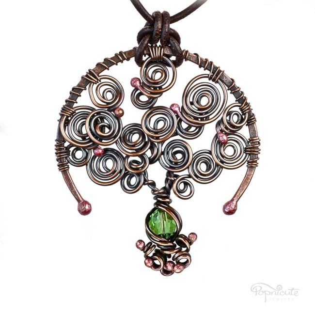 Tree of Life Peridot August Birthstone Copper Pendant with A Leather Necklace by Popnicute Jewelry.