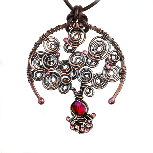 Ruby: July Birthstone Tree of Life Necklace