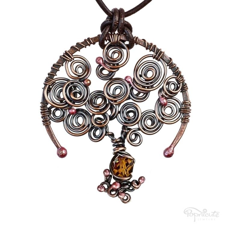 Topaz: November Birthstone Tree of Life Necklace