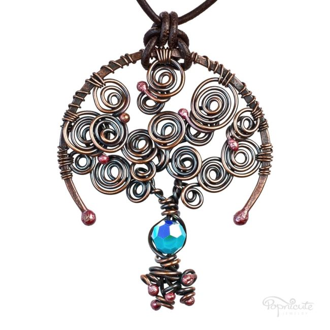 Tree of Life Turquoise December Birthstone Copper Pendant with A Leather Necklace by Popnicute Jewelry.