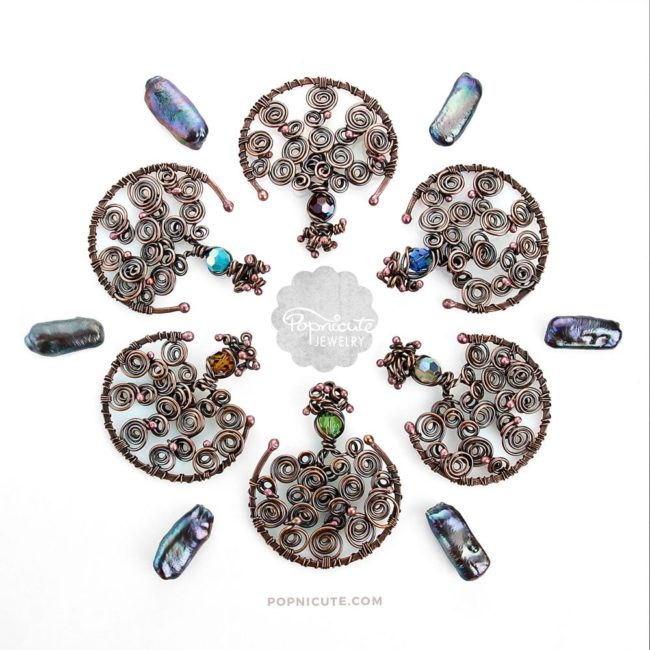 Tree of Life Birthstone Copper Pendants by Popnicute Jewelry. Group shot.