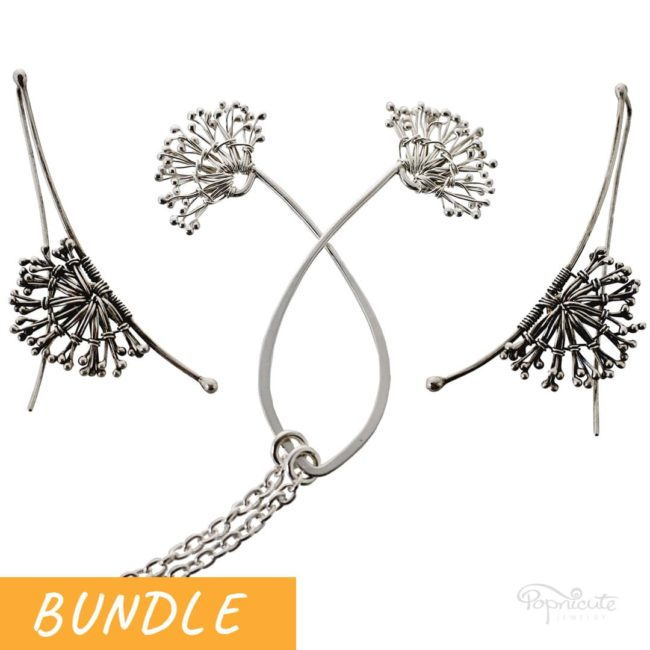 Dandelion White Puff Necklace and Long Earrings Bundle by Popnicute Jewelry.