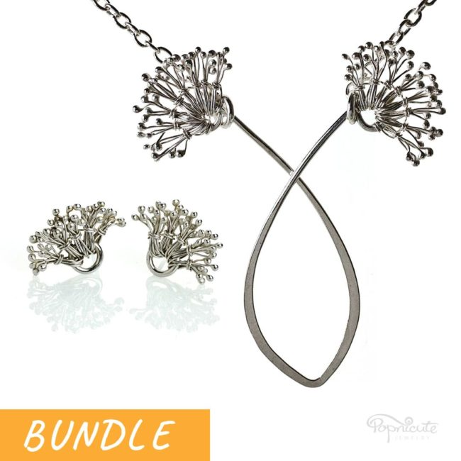 Dandelion White Puff Necklace and Post Earrings Bundle by Popnicute Jewelry.