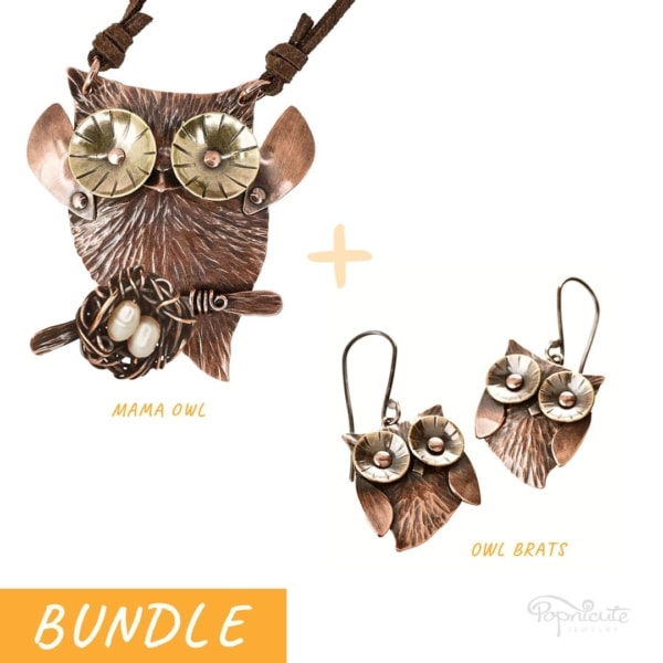 Mama Owl + Owlet Earrings Jewelry Set