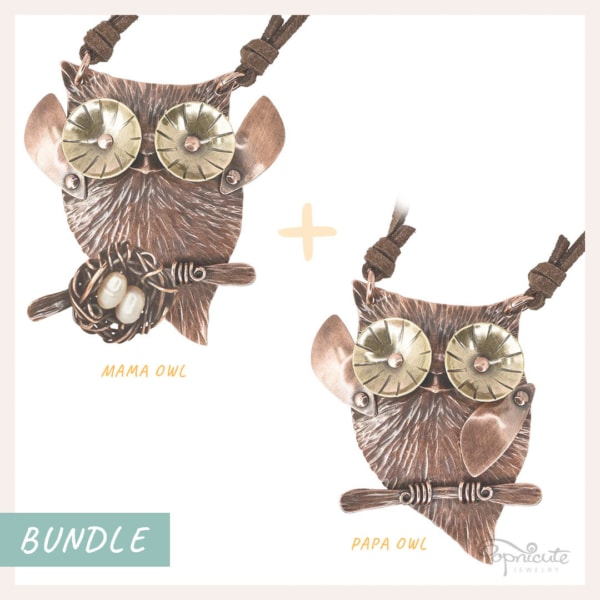 Mama Papa owl pendant necklaces set in copper and brass. Wearable sculpture for your neck by Popnicute Jewelry.