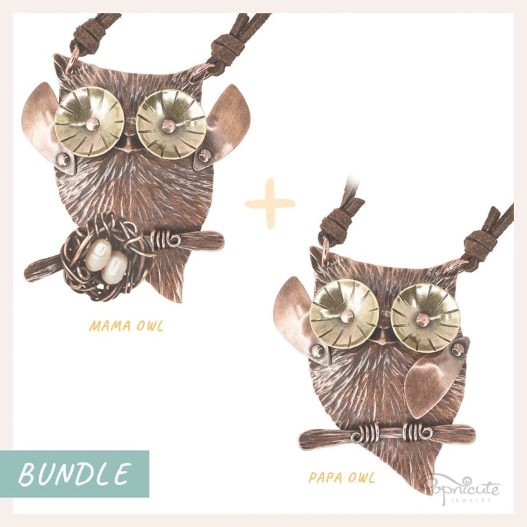 Mama Papa Owls Necklace Set