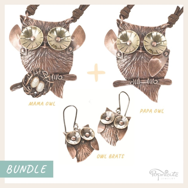 Mama Owl + Papa Owl + Owlet Earrings Set