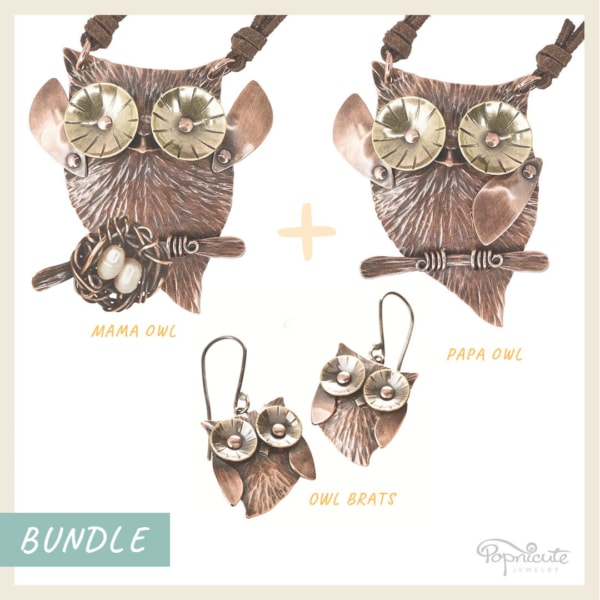 Owl family necklace and owlet earrings copper owl jewelry set and brass. Wearable sculpture for your neck by Popnicute Jewelry.