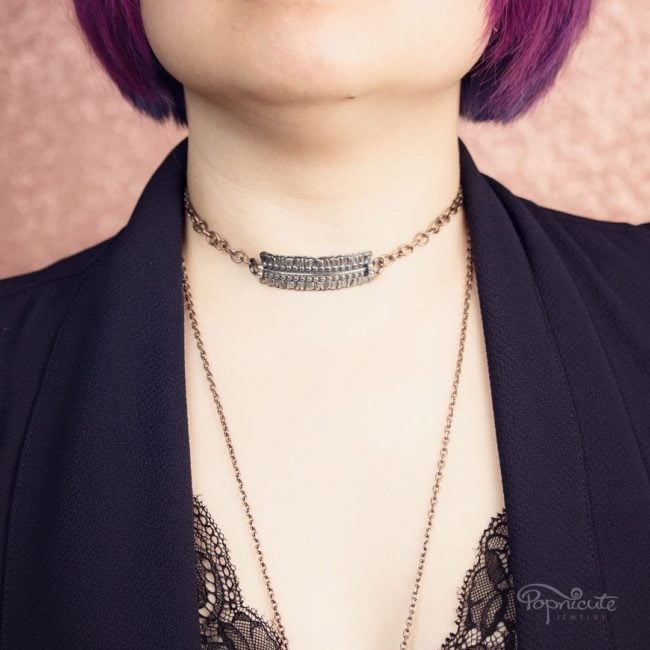 Sterling Silver Horizontal Bar Necklace by Popnicute Jewelry on model.