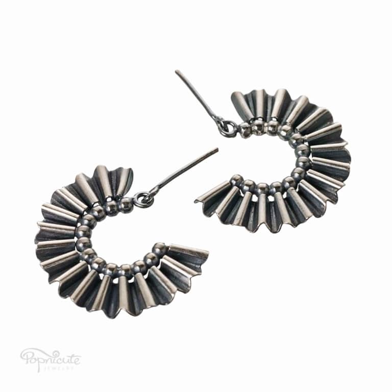 Fan Earrings Dangle Silver Hoops
