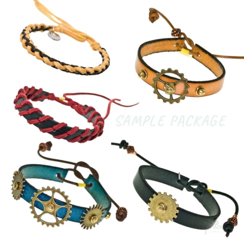 Leather Bracelets 5-Pack Bundle