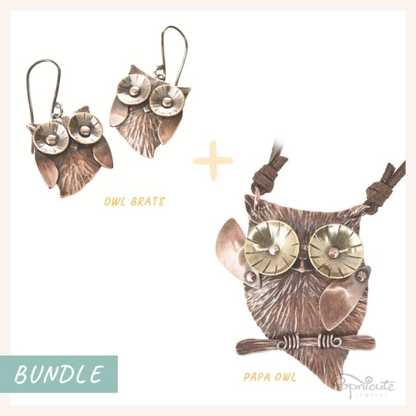 Papa owl jewelry set with owlet earrings in copper and brass. Wearable sculpture for your neck by Popnicute Jewelry.