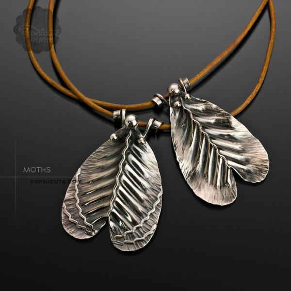 Imperial moth and Gypsy moth necklaces sterling silver by Popnicute Jewelry.