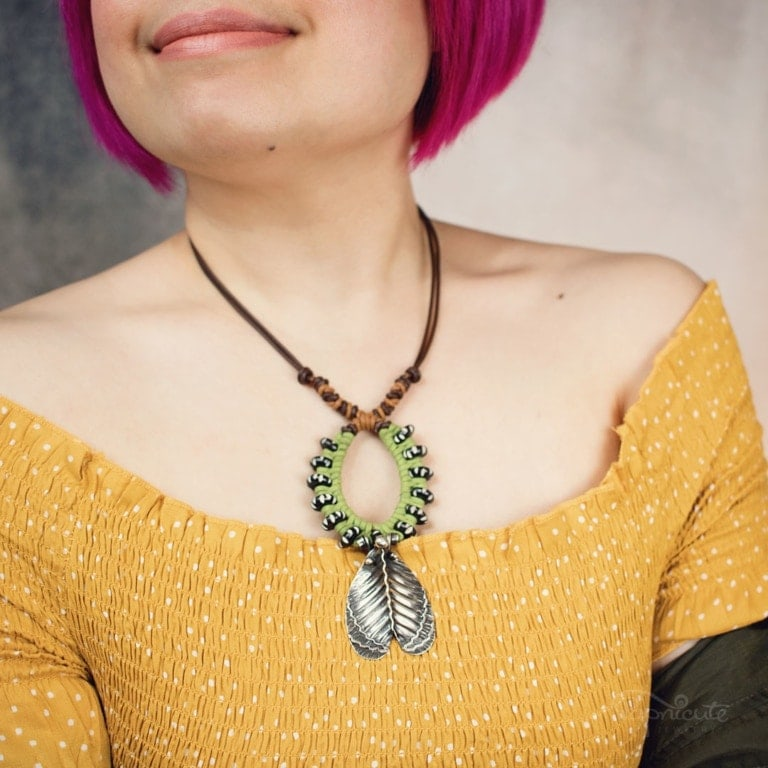 Imperial Moth Caterpillar Necklace