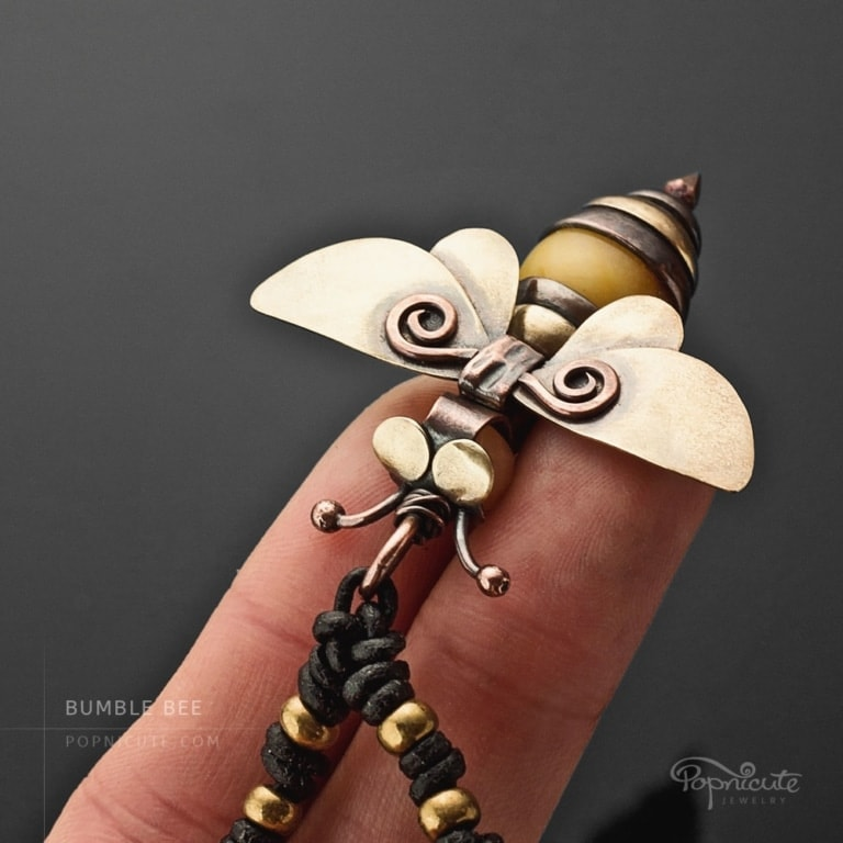 Honey bee necklace golden brass copper artisan jewelry by Popnicute