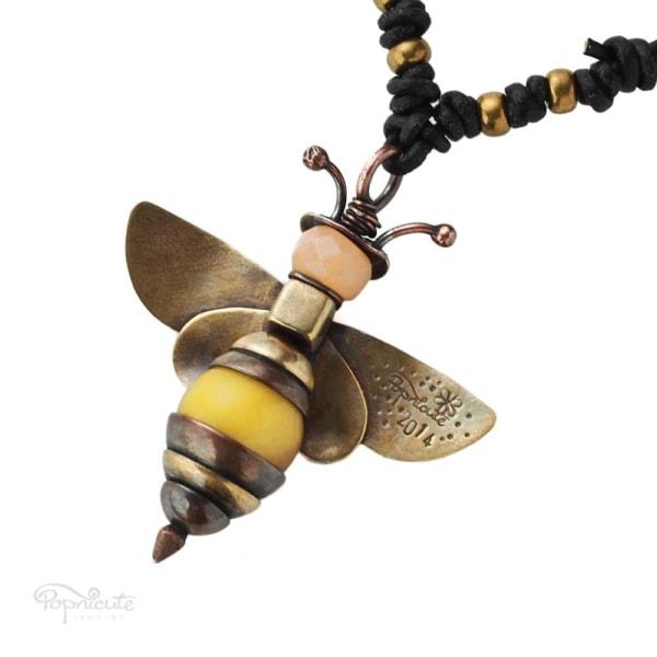 Honey bee necklace golden brass copper artisan jewelry by Popnicute back side.