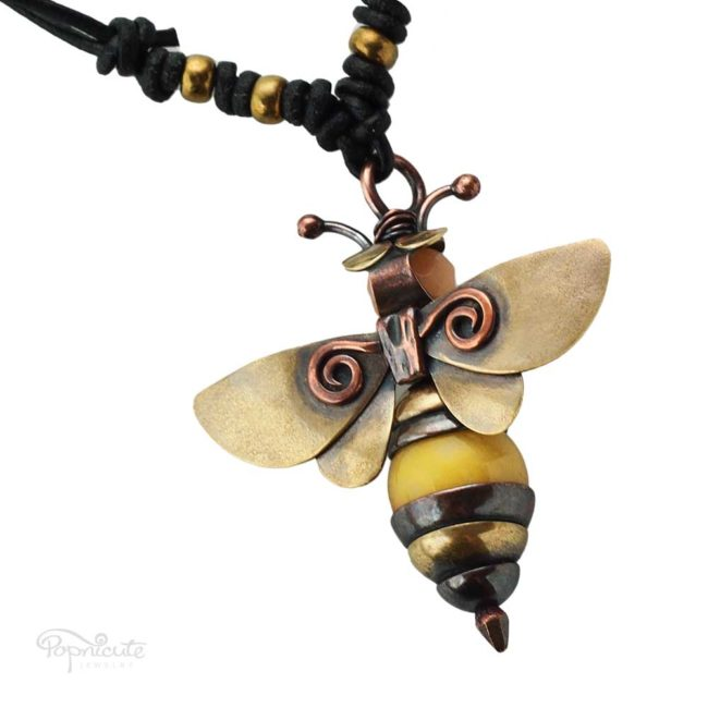 Honey bee necklace golden brass copper artisan jewelry by Popnicute top view