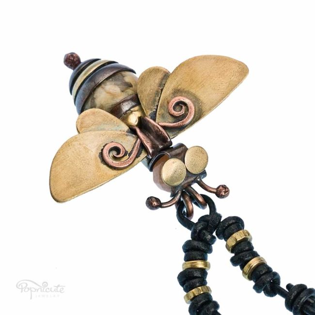 Honey bee necklace golden brass copper artisan jewelry by Popnicute front view.