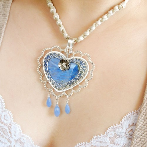 """""""Heart of Laura"""" – A romantic lacy heart pendant custom designed for Laura in Paraguay. She loved my why wire scalloped design and let me gone wild with it."""