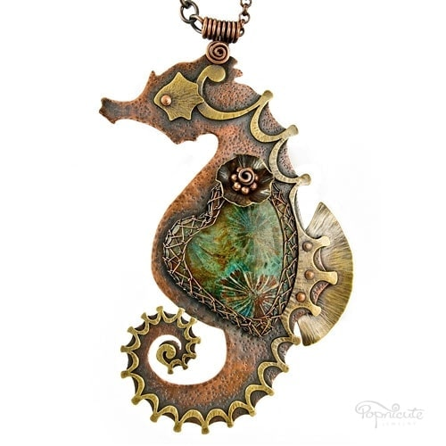 """""""Seahorsie"""" – A whimsical seahorse designed for Emily. She chose a fossil coral heart stone that couldn't be more perfect for this heart necklace!"""