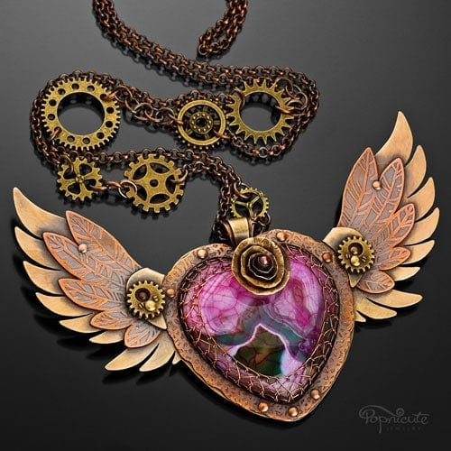 """""""Winged Heart 3.0"""" – A colorful agate is the focal of this steampunk heart pendant. Custom designed for Gabriella from the Bahamas."""
