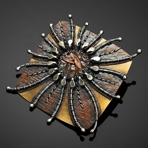 """""""Flower Quilt"""" Pin – Argentium Silver, Copper, and Red Brass"""