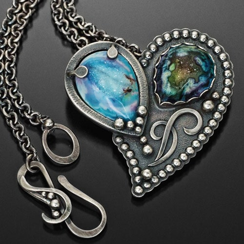 """""""Heart of Lucy"""" Pendant – Silver, Sterling Silver, Fine Silver, Dyed Drusy Agates"""