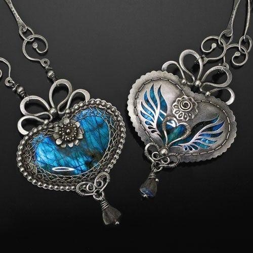"""Heart of Meli"" Reversible Heart Pendant – Argentium Silver, and Labradorite"