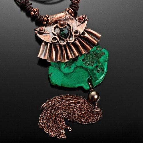 """Malachite Madness"" Pendant – Copper, Malachite, Swarovski Crystal, Swarovski Pearl, and Leather"