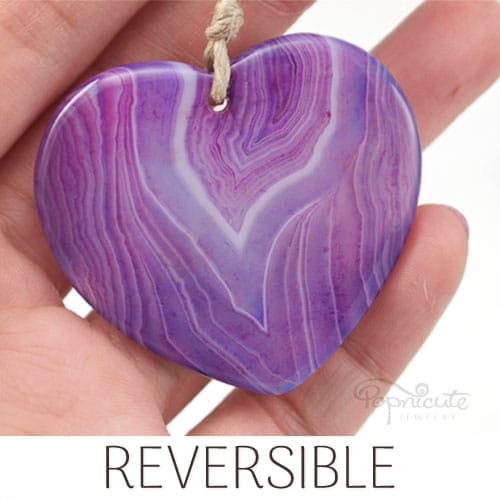 Purple Banded Agate Heart – A02