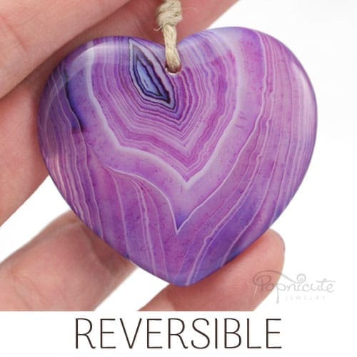 purple agate heart pendant
