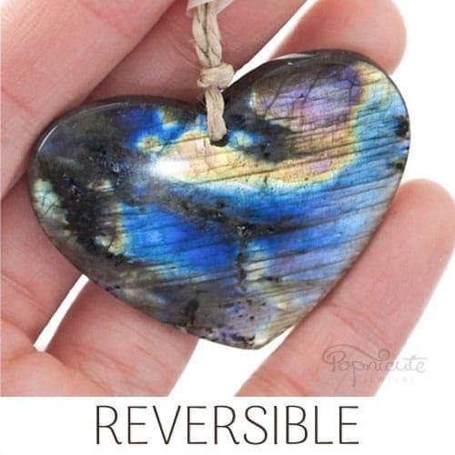 reversible blue orange labradorite heart pendant
