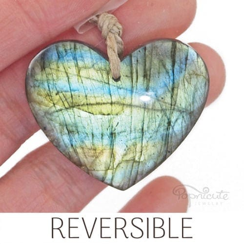 blue yellow labradorite heart pendant