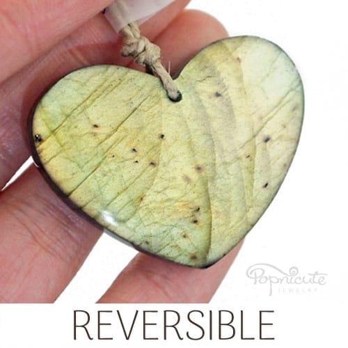 reversible heart pendant green labradorite
