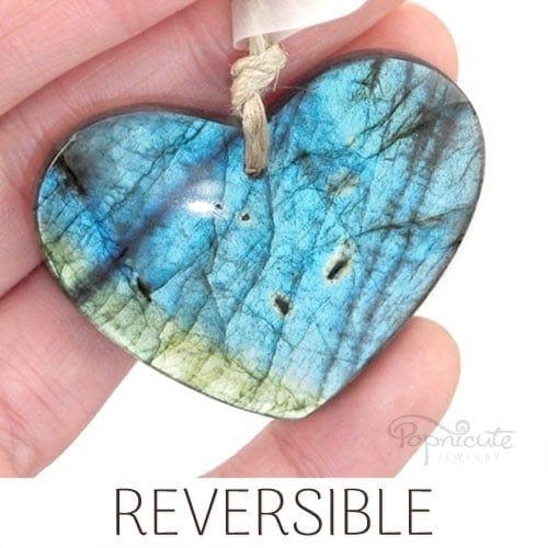 blue green labradorite heart pendant