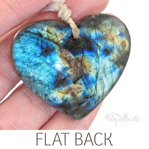 blue orange labradorite heart pendant